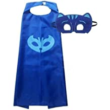 New PJ Masks Cape and Mask Set Owlette Catboy Cosplay Kids Costume Party Favor Blue cape