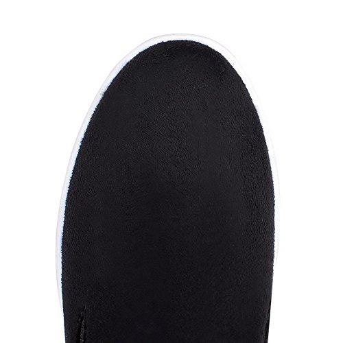 VogueZone009 Femme Tire Suédé Rond à Talon Haut Couleurs Mélangées Chaussures Légeres Noir