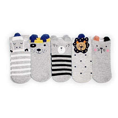 Lifeney 5 Paar Damen Socken Füßlinge Sommer Socken graues Design - Sneaker Socken mit Tiermuster - Sportsocken mit Highlight (Grau Muster 1) (Sneaker Design)
