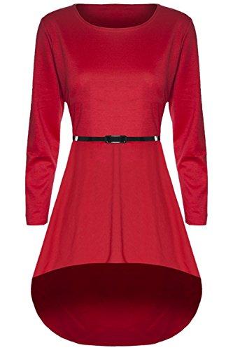 Damen Mini-Kleid aus dehnbarem Material, langärmelig mit abfallendem Saum Rot