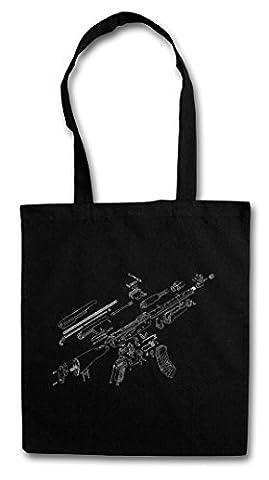 AK47 BLUEPRINT HIPSTER BAG – Bleu fusil mitrailleuse AK 47 74 Gun MG Machine Automatic Rifle War Russian Guerilla
