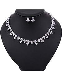 fa761dc186ab ChenYongPing Conjuntos de joyería para Mujer Conjunto de joyería Nupcial de  Plata