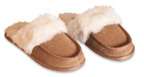 Nordvek - Pantofole in camoscio e lana donna # 442-100 Castagna