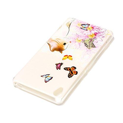 Sony Xperia XA Custodia, Sony Xperia XA Cover, JAWSEU Sony Xperia XA Protezione Bumper Cristallo Trasparente Custodia Cover per Sony Xperia XA Case Caso Bella Creativo Disegno Luminoso Ultra Sottile L Fiore della farfalla del gatto