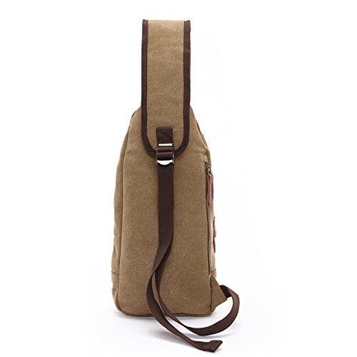 Outreo Kleine Umhängetasche Herren Brusttasche Canvas Schultertasche Vintage Tasche für Sport Herrentaschen Reisetasche Sporttasche Retro Taschen Back Pack Beige