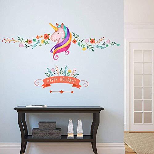 Pegatinas de pared de flores de unicornio de flores de colores para niños Habitación Happy Holiday Girls Habitación Decoración de vivero de ventana de cumpleaños de regalo
