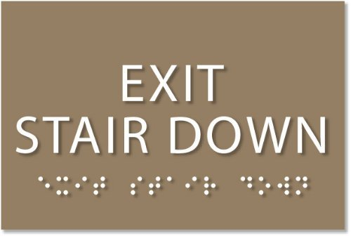 """Exit Stair Down Sign - ADA compliant sign. 6""""x4"""" sign made from durable plastic with raised lettering and Braille. Designed to meet ADA (Americans with Disabilities Act) regulations. Available in 17 colors. by ADA Central Signs"""