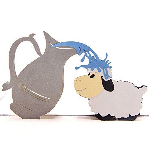 Papel spiritz ovejas hecho a mano Tarjeta de bautismo para bebé niña Boy Pop Up Tarjeta de Baby Shower invitaciones de felicitaciones