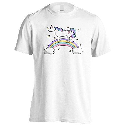 Nuovo Arcobaleno Carino Unicorno Uomo T-shirt m201m White