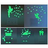 Amaoma Leuchtaufkleber für Lichtschalter oder Steckdose, 5 Stück Leuchtende Aufkleber Schlafzimmer Leuchtsticker, Selbstklebend Fluoreszierend und im Dunkeln Leuchtend (Katze,Fee,Prinzessin,Hase,Paar)