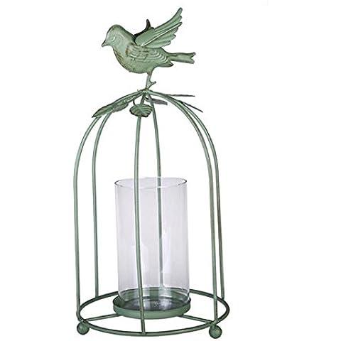 GYN Continental antiguo creativo forjado artes del hierro del pájaro de la jaula de la vela Adornos Adornos Holder American Village decoración de jardín , green