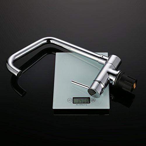 Homelody – Vorfenster-Küchenarmatur, 360° schwenkbar, hoher Auslauf, Chrom - 8
