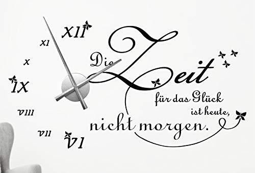 timalo® XXL Wanduhr Wohnzimmer Wandtattoo Spruch 'Die Zeit für das Glück ist heute, nicht morgen' mit Uhrwerk – Uhr zum Aufkleben   76046