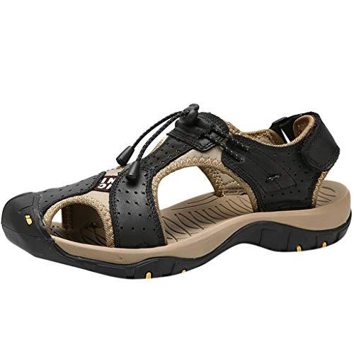 YEARNLY Herren Sommer Sport Sandalen Leder Outdoor Wohnungen Casual Strand Schuhe atmungsaktiv Freizeitschuhe Schwarz, Blau, Gelb, Khaki 38-46