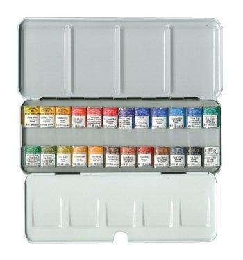 Winsor & Newton : Professional Watercolour : Lightweight Metal Sketchers Box Set : 24 Half Pans -