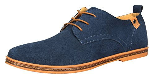 iLoveSIA Men's Leather Suede Oxford Shoes UK Size 11 Blue (47)
