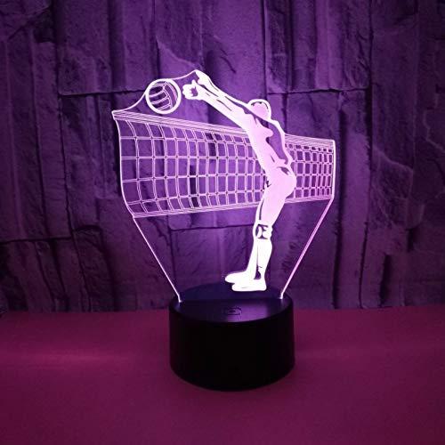 Lampade 3d illusione ottica luce notturna giocare a pallavolo di illuminazione luce notturna, lampada da tavolo 7 colori con acrilico caricatore usb