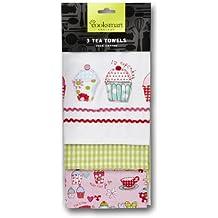 Cooksmart - Paños de cocina, modelo Cupcakes, paquete de 3