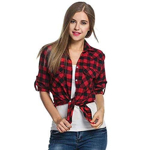 Damen Shirts Taste Bluse Flanell Hemden Blusen Frauen Tartan Plaid T-Shirts Oberseiten mit Roll-up Ärmel,ABsoar