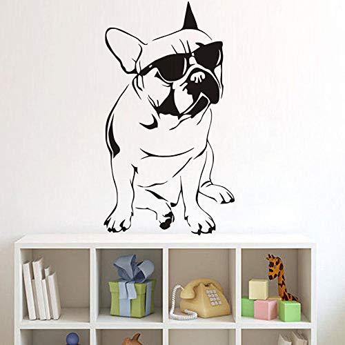3d poster Kunstwand Lustige Tier Wandaufkleber Französische Bulldogge Mit Sonnenbrille Vinyl Wandtattoo Vinilos Paredes Wandbild 100 * 56 cm