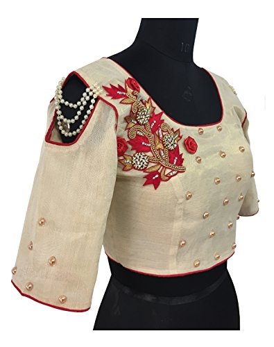 Designer Ready Made Blouse With Pearl, Diamond & Embroidery Work Black Color...