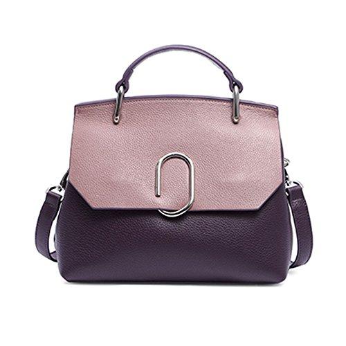 Mefly Donna Di Borsette In Cuoio Dello Strato Superiore Singolo Obliqui Di Spallamento Trasversale Della Fibbia Posteriore Nero Pink Purple