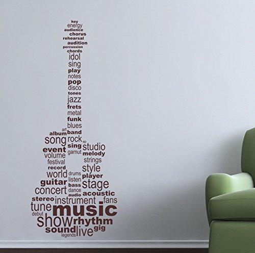Gitarre Text. Qualität Musik Vinyl Matt Wand Aufkleber. 6Farbe Optionen. Braun braun Musik-aufkleber Für Wände