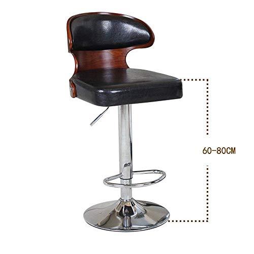Barhocker Nussbaum Bentwood Höhenverstellbarer moderner Barhocker aus Leder mit Vinyl-Rücksitz Extrem bequem 360 & deg; -