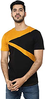 i Care Men's Strip Casual Slim fit Cotton T-Shirt Short Sleeve Crewneck Tee Shirts for
