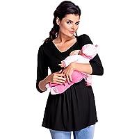 Zeta Ville - Premamá Top Camiseta de Lactancia Efecto 2 en 1 - para Mujer -