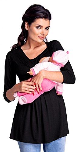 Süße 3/4 Ärmel T-shirt (Zeta Ville - Damen Zweilagiges Still Top für Schwangerschaft 3/4-Ärmeln - 945c (Schwarz, EU 36/38, M))