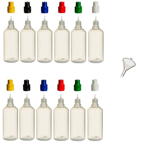12 Stück 100 ml PP-Flaschen MIT FARBIGEN DECKELN + Füll-Trichter - Quetschflasche Leerflasche Kunststofflasche Plastikflasche Spritzflasche quetschbar zum befüllen und mischen auch Liquide