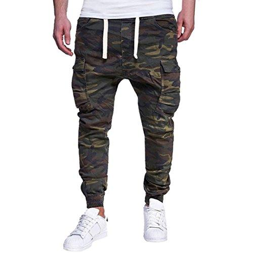 CLOOM pantaloni uomo estivi, Uomo Pantaloni Lunghi da Lavoro Outdoor con Tasche Multiple - Pantaloni di Uniforme Stile Cargo Tinta Unita Pantaloni da Lavoro Uomo Casual(Army Green,XXXXL)
