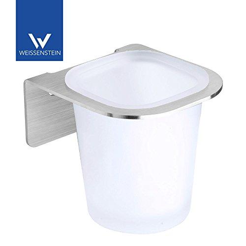 WEISSENSTEIN Zahnputzbecher ohne bohren | Becher und Zahnputzbecherhalter zum kleben an der Wand | Edelstahl Halterung und Glas weiß | Design matt gebürstet in silber grau