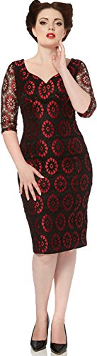 Voodoo Vixen Vintage FLORAL Lace Pin Up PENCIL Dress KLEID Rockabilly