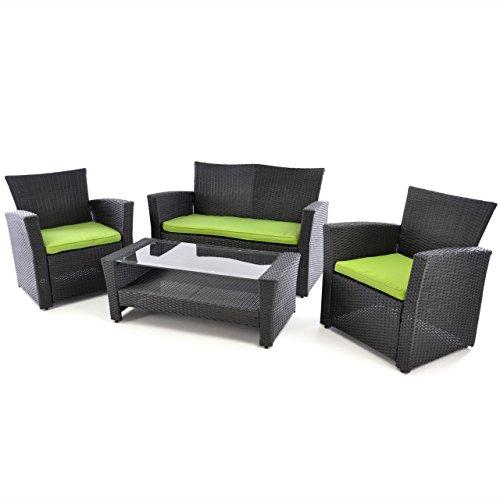 Rattan Set 4tlg Tisch mit 2 Sessel und 1 Sofa schwarz Polster grün Rattangarnitur Sitzgruppe Füße höhenverstellbar Glasplatte Set 4-sitzer 4-teilig