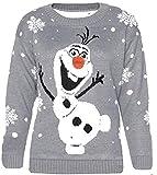 Zara Fashion -Women Christmas Olaf Frozen Neuheit Weihnachten Pullover (ML, GREY)