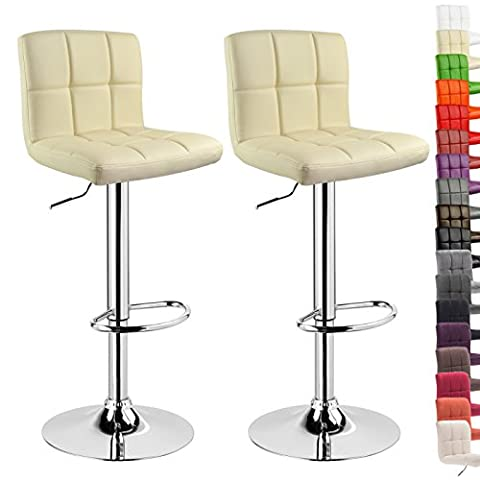 WOLTU 9109 2x Bar Stools with PU Seat Kitchen Counter Stool, Adjustable Swivel Gas Lift,Seat Height: 60-82cm,Cream