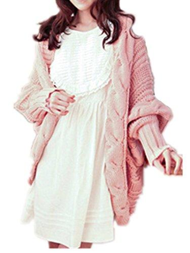 Damen Strick Mantel Lange Ärmel Pullover Kabel Gestrickte Strickjacke Strick Cardigan mit Kragen Mantel Outwear Langarm für Herbst Winter - 6 Farben one size