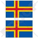 Aland (Inseln Flagge Finnland ahvenanmaa Finnische 7,6cm (75mm) Bumper Sticker, Aufkleber Vinyl X2