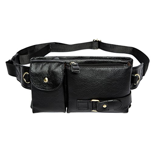 Zhhlinyuan dauerhaft Mens Women Unisex Soft Small Zipper Adjustable Belt First Cowhide Leather Crossbody Waist Bag Bum Bag Hip Bag Waistpack (Bag Purse Hip)