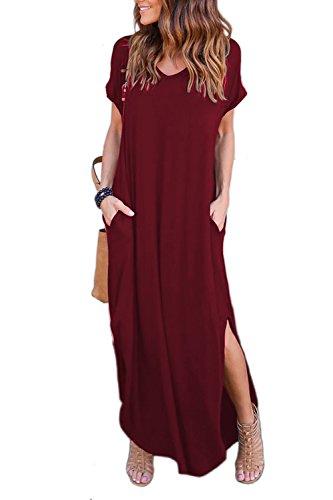 Zilcremo Robe Longue Femme Bohème Plage Été Manches Courtes Manches Courtes Casual Boho Maxi Robes Red M