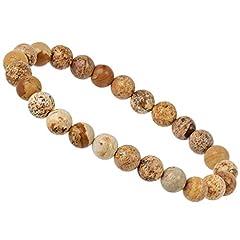 Idea Regalo - PowerBead - Bracciale con pietre preziose e perle in diaspro paesaggistico, da uomo e da donna