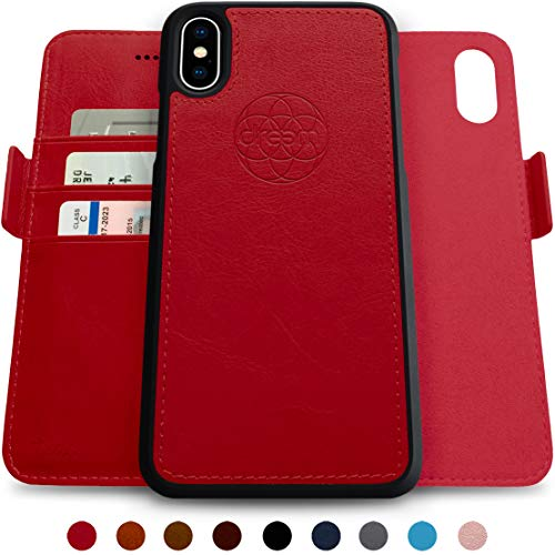 Dreem Fibonacci 2-in-1 Wallet-Case for iPhone XS Max Magnetic Detachable Unbreakable TPU Slim-Case, Wireless Charge, RFID Protection, 2-Way Stand, Luxury Vegan Leather, Gift-Box - Red