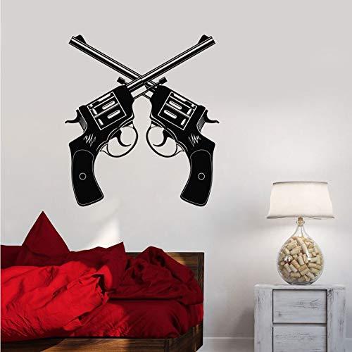 yaonuli Vinyl wandtattoo Gun Shop Revolver Waffe wandaufkleber Waffe schießstand wandmalerei Dekoration 63x42 cm
