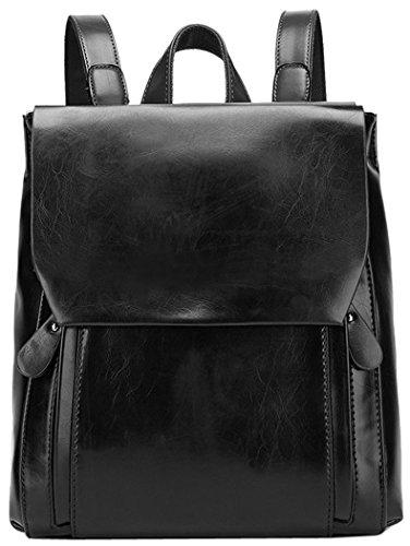 Coofit Frauen Öl und Wachs Leder Rucksack Damen Umhängetasche Reißverschluss Handtasche Tasche Reisen (2 Leder-handtasche Schwarze)