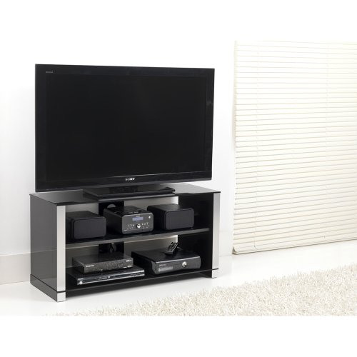 Reversible High Gloss Black and Silver TV Stand for up to 42 inch TVs