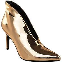 141bad8b808e79 Fashion Thirsty Damen Stiefelette zum Hineinschlüpfen - hoher Absatz -  V-Form