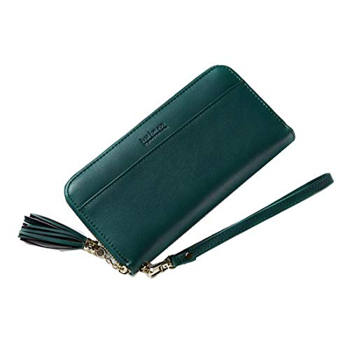 HeiPlaine Weiblich Frauen Lange Brieftasche bis Leder Kartenhalter Reißverschluss um Clutch Wallet Wristlet Damen Geldbörse Griff Tasche (Farbe : Green) -
