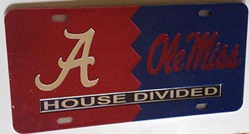Alabama Crimson Tide-Ole Miss Rebels-Haus geteilten verspiegelt Auto Tag Nummernschild von der Sport-Fan Store (Ole Miss Auto-tag)